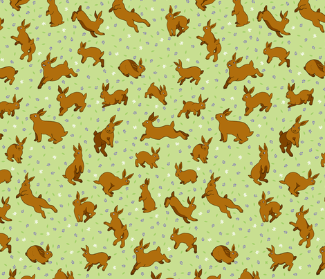 Brown rabbits in a field of flowers fabric by natashad on Spoonflower - custom fabric