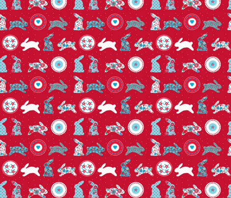 """123 lapin fleur"" fabric by nadja_petremand on Spoonflower - custom fabric"