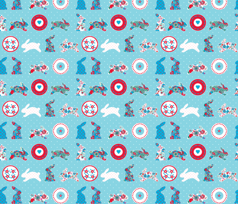 1 2 3 lapin bleu fabric by nadja_petremand on Spoonflower - custom fabric