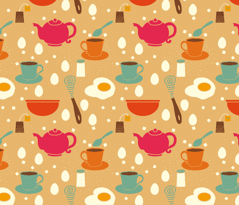 breakfast with eggs fabric by lfntextiles on Spoonflower - custom fabric