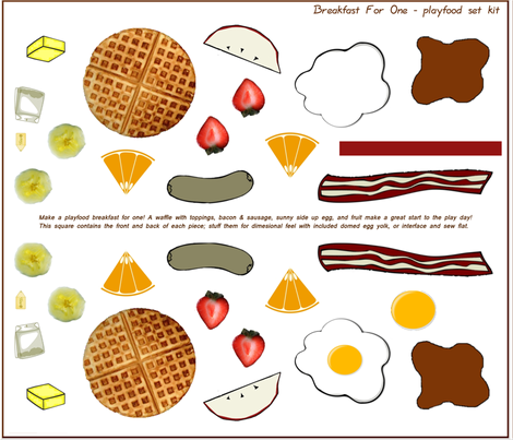 Breakfast for One; Play Food Set/Kit fabric by rengal on Spoonflower - custom fabric