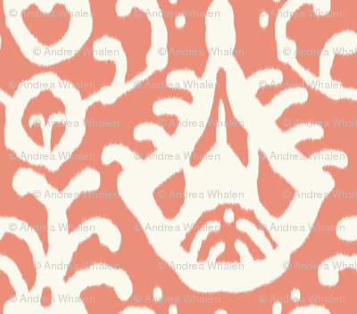coral ikat fabric - domesticate - Spoonflower