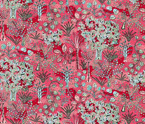 Tree Party, red fabric by jane_kriss on Spoonflower - custom fabric