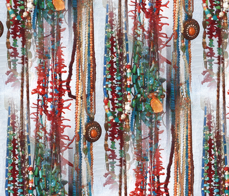 Turquise and Coral fabric by ddmote on Spoonflower - custom fabric