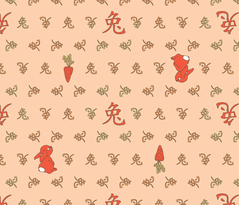 It's A Girl ... Born In The Year Of The Rabbit fabric by annosch on Spoonflower - custom fabric