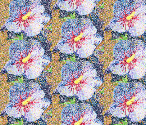 Pointillist Hibiscus fabric by may_flynn on Spoonflower - custom fabric