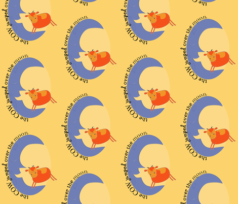 Hey Diddle Diddle Cow-gold fabric by meg56003 on Spoonflower - custom fabric
