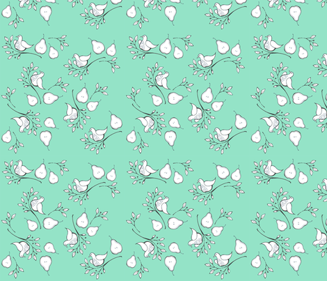 Birds & Pears fabric by lisaorgler on Spoonflower - custom fabric