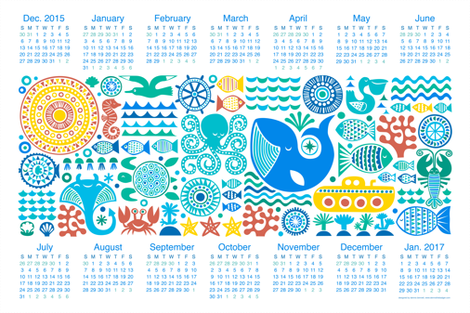 Year under the sea 2016 fabric by dennisthebadger on Spoonflower - custom fabric