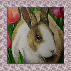Wise Rabbit in Tulips