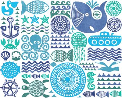 under the sea, watercolor
