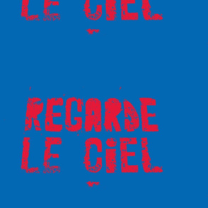 Look at the Sky - Regarde le Ciel, large red text