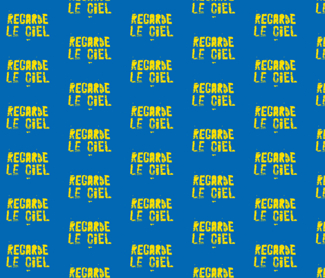 Look at the Sky - Regarde le Ciel, small yellow text fabric by susaninparis on Spoonflower - custom fabric