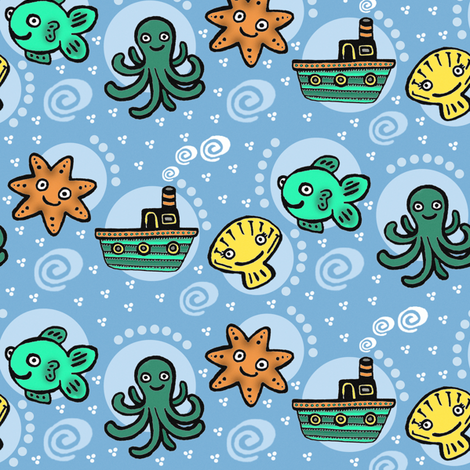 Happy Sea fabric by emilykariya on Spoonflower - custom fabric