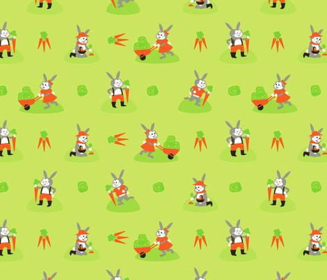 Gardening Bunnies fabric by acbeilke on Spoonflower - custom fabric