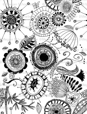 Doodled Flowers (black and white)
