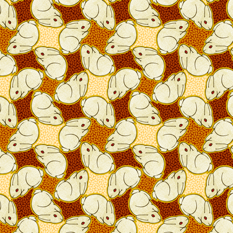 Rabbits and Rice fabric by siya on Spoonflower - custom fabric