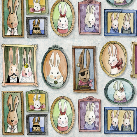 rabbit years-family portraits fabric by daniellehanson on Spoonflower - custom fabric