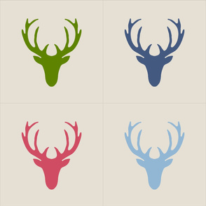 16 inch seaview simple deer heads pillow panels