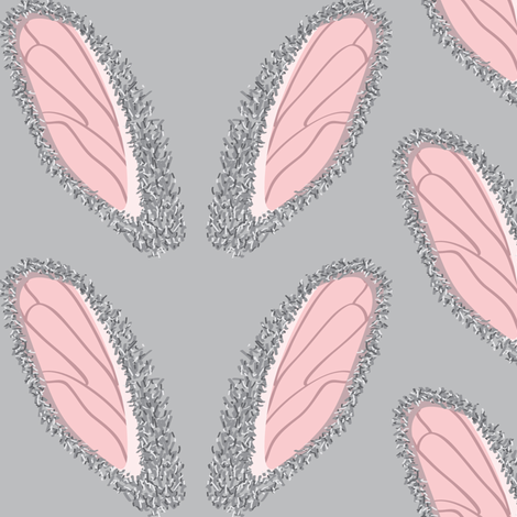Bunny ears on Gray fabric by majobv on Spoonflower - custom fabric