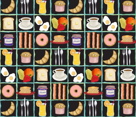 breakfast buffet fabric by littlerhodydesign on Spoonflower - custom fabric
