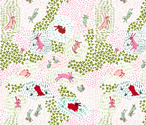 crimson and clover rabbits fabric by smashleysoliman on Spoonflower - custom fabric