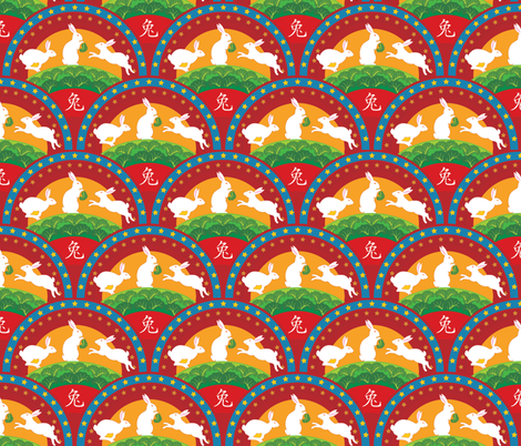 Rabbits under the Stars fabric by janiris on Spoonflower - custom fabric