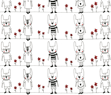 rabbits in line fabric by rosalilli79 on Spoonflower - custom fabric