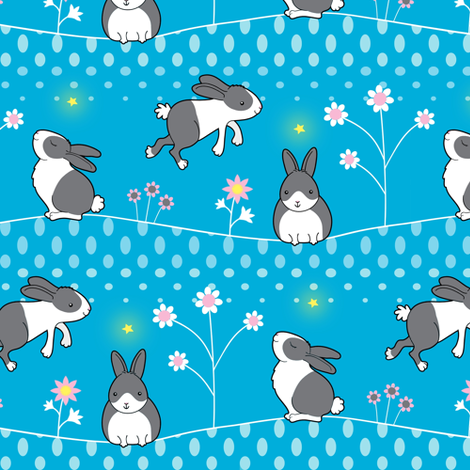 Rabbits Welcome the New Year fabric by zoel on Spoonflower - custom fabric