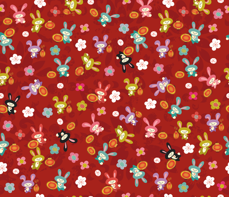 Year of the Rabbit fabric by cynthiafrenette on Spoonflower - custom fabric