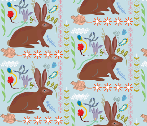 rabbit_flower fabric by junej on Spoonflower - custom fabric