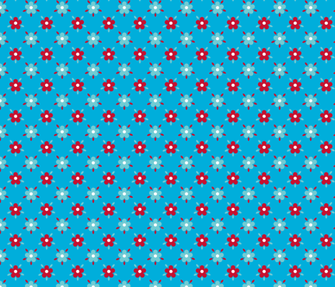 fleurettes_fond_bleu fabric by nadja_petremand on Spoonflower - custom fabric