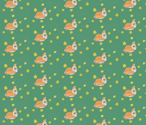 A Rabbit in the Field by 10yrs old Magneetje fabric by magneetje on Spoonflower - custom fabric