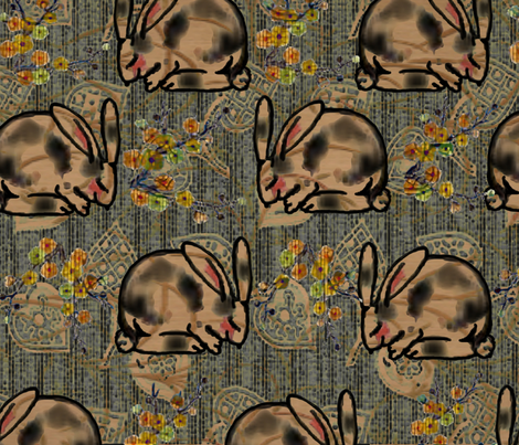 Happy Kimono Bunny fabric by kaerushisho on Spoonflower - custom fabric