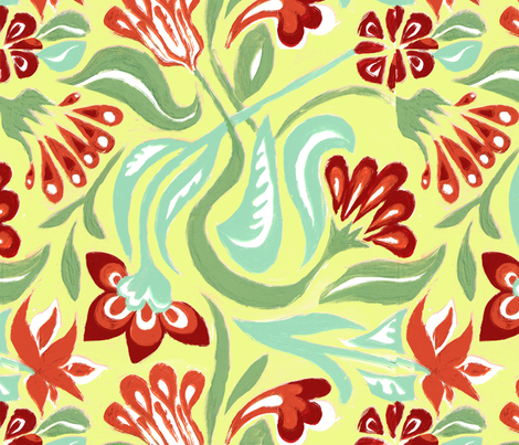 Twirl Vintage Inspired Floral fabric by ginaglynn on Spoonflower - custom fabric