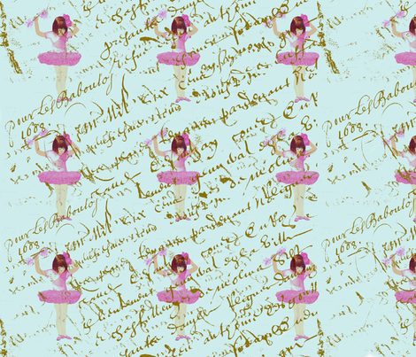 Ballerinas_on_french_script_pattern fabric by karenharveycox on Spoonflower - custom fabric
