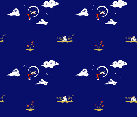 Tsukimi Usagi fabric by icetigris on Spoonflower - custom fabric