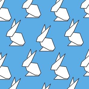oragami ears in blue