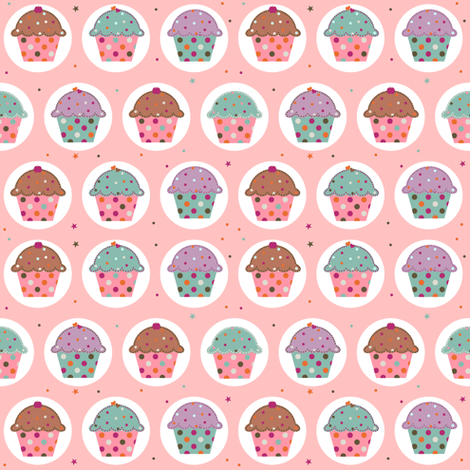 cupcakes_pink fabric by tiboud'papier on Spoonflower - custom fabric