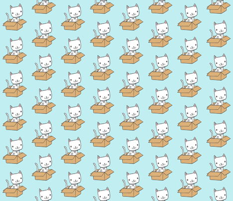 cute kitty on blue fabric by liz-adams on Spoonflower - custom fabric