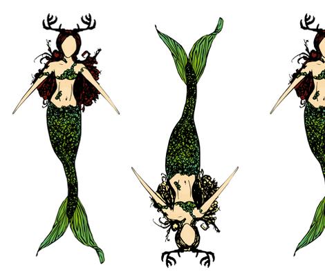 Nymphs: Auburn and Blond Hair fabric by pond_ripple on Spoonflower - custom fabric