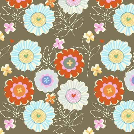 "ZINNIA GARDEN in ""OTTER"" fabric by trcreative on Spoonflower - custom fabric"