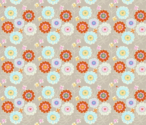 "ZINNIA GARDEN in ""DOVE"" fabric by trcreative on Spoonflower - custom fabric"