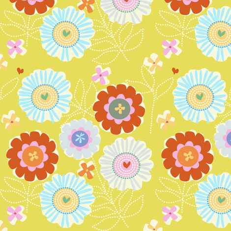 "ZINNIA GARDEN in ""CITRUS"" fabric by trcreative on Spoonflower - custom fabric"