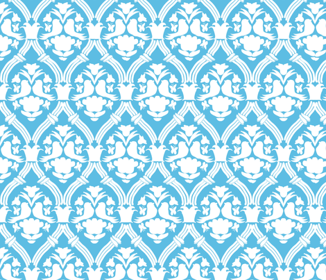 "HAPPY DAMASK in ""SKY MODERN"" fabric by trcreative on Spoonflower - custom fabric"