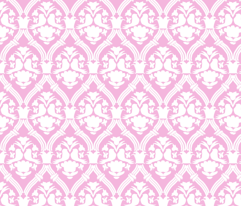"HAPPY DAMASK in ""PETAL MODERN"" fabric by trcreative on Spoonflower - custom fabric"