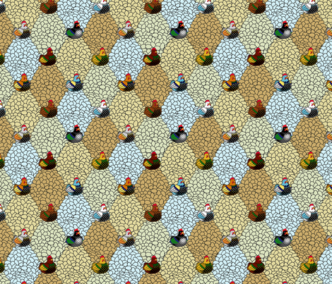 Chickens and Eggs fabric by siya on Spoonflower - custom fabric
