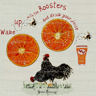 2_Roosters_juice on linen