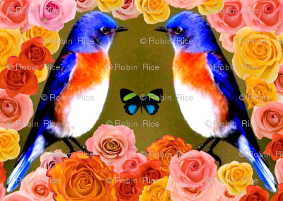 Blue Birds, Roses and a Butterfly