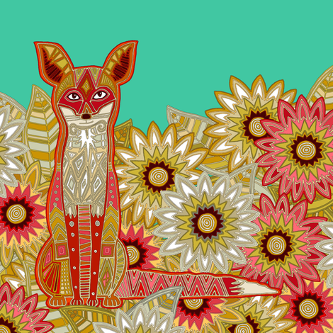 garden fox jade swatch fabric by scrummy on Spoonflower - custom fabric